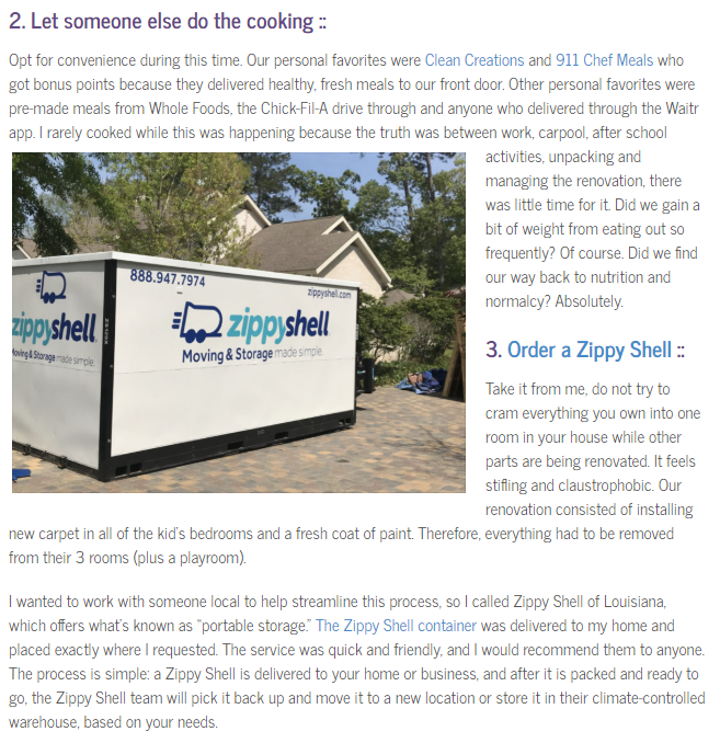 Zippy Sell featured in New Orleans Moms blog for renovations
