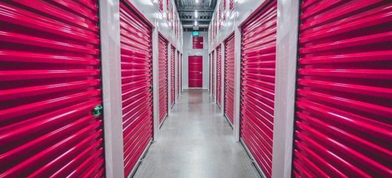 Pink shutter doors of storage units