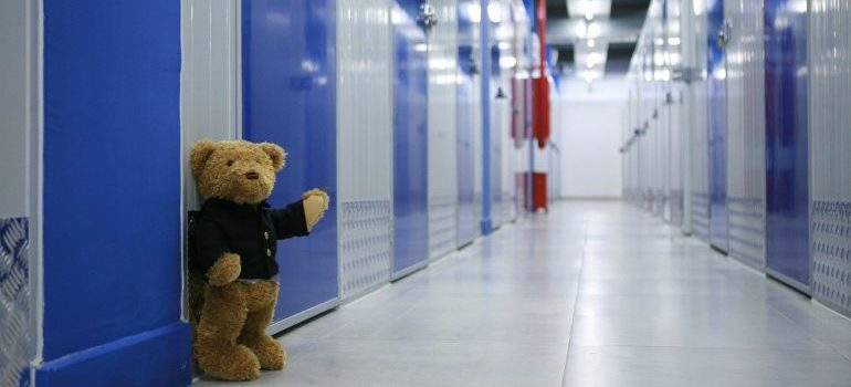 A teddy bear in front of storage units Lafayette LA.