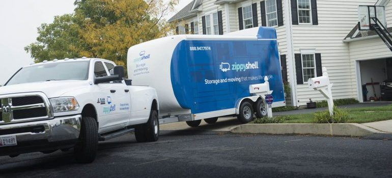 zippy shell trailer and storage unit, preparing for a ride to long term storage facility