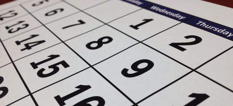 A close-up of a calendar.