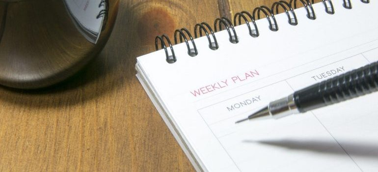 A weekly planner.