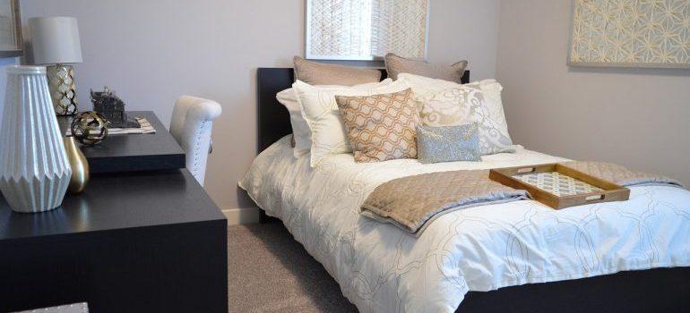 Bedroom furniture, including a bed.