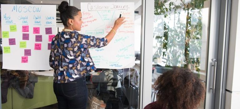Two women making plan for relocating business in 2021