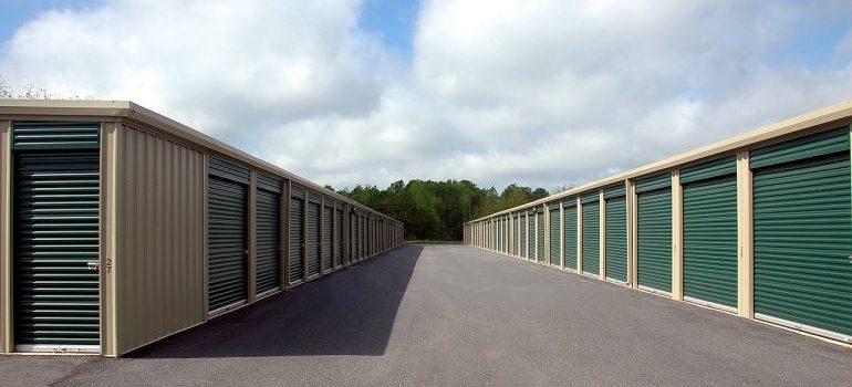Many doors of a storage warehouse.