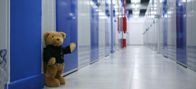 A teddy bear in a storage facility in front of doors of storage units.