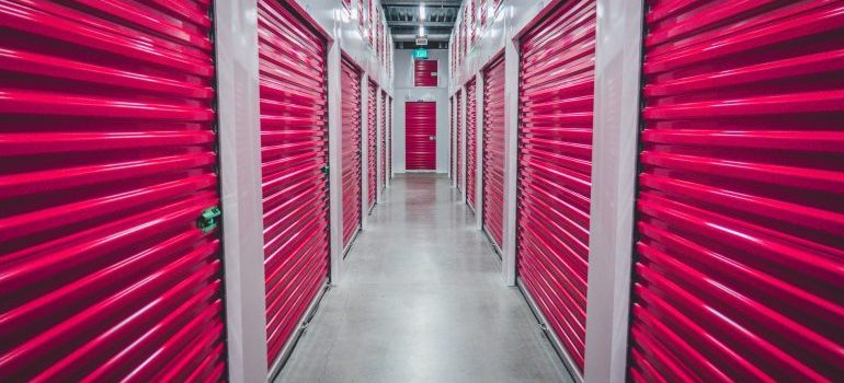 Storage unit with the pink sliding doors.